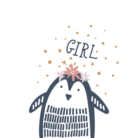 Cute nursery hand drawn little penguin, Baby Shower animal print. Vector illustration, scandinavian style