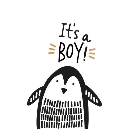 Cute nursery hand drawn little penguin, Baby Shower animal print. Vector illustration, scandinavian style