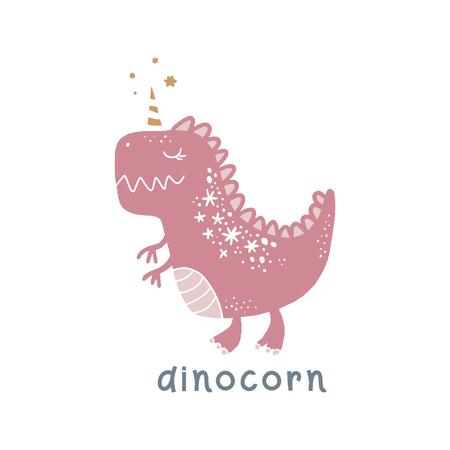 Art de dinosaure bébé mignon de vecteur. Dino licorne, dinocorne. Illustration de la pépinière. Il peut être utilisé pour l'art mural, les cartes de vœux, les affiches, les vêtements pour enfants, etc.