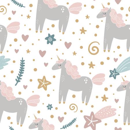 Nettes handgezeichnetes Mädchen-Einhorn-Pastell-Kinderzimmer-Muster. Pastellfarben. Gut für Drucke, Geburtstagseinladungen, Karten. Magisches Pony, florale Elemente und Sterne. Vektor, ClipArt
