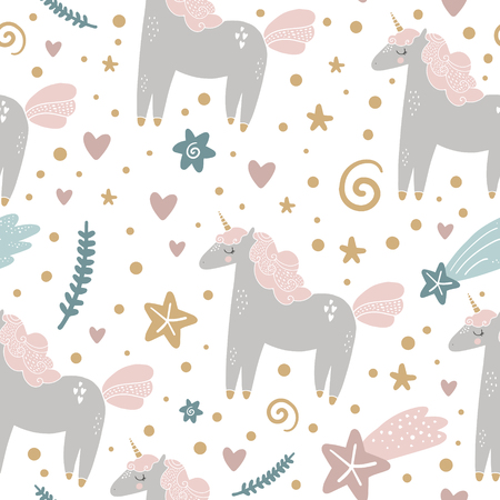 Cute hand drawn girl unicorn pastel nursery pattern. Pastel colors. Good for prints, birthday invitations, cards. Magical pony, floral elements and stars. Vector, clip art Illustration