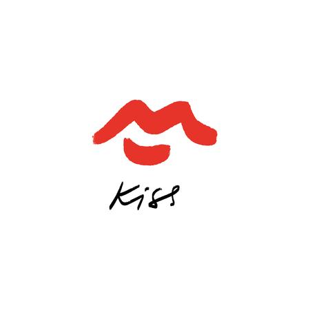 Illustration de croquis de belles lèvres rouges simples dessinés à la main de vecteur. Élément de décor pour logo, étiquette, emblème, affiche, carte postale et autre Logo