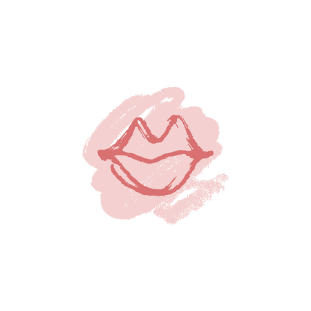 Vector hand drawn lips symbol, logo element template. Simple minimal lines style. Pastel colors makeup, brush strokes