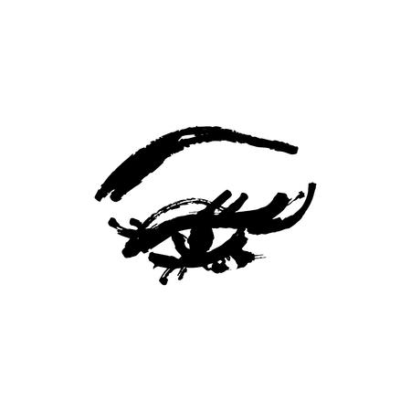 Eye and yelashes logo. Stylized hand drawn art. Abstract black and white vector illustration Logo