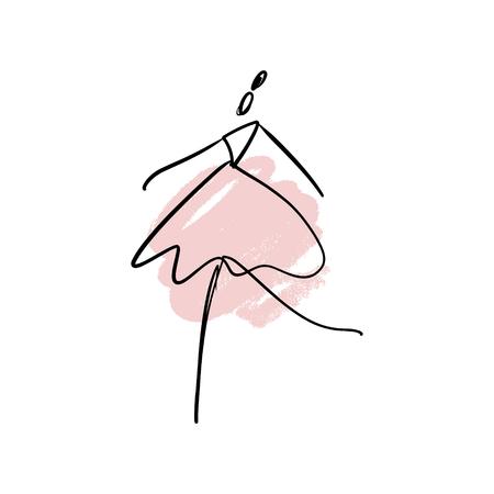 Siluetta di linea del vettore di ballerina elegante con elemento acquerello. Icona del ballerino. Modello di logo, etichetta, emblema Logo