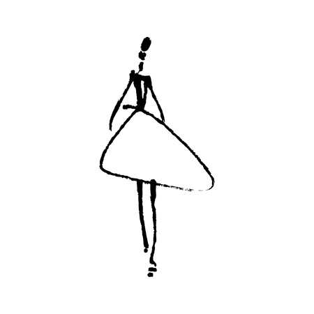 Fashion model hand drawn sketch, stylized ink and watercolor silhouette isolated on white background. Vector illustration Vettoriali