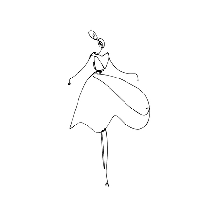 Dancing girl. Fashion model hand drawn sketch, stylized ink line silhouette isolated on white background. Vector illustration
