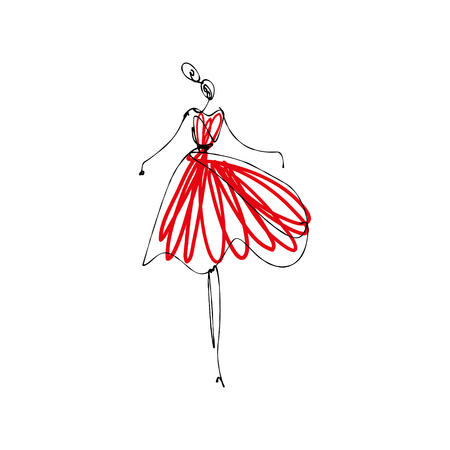 Dancing girl in red dress. Fashion model hand drawn sketch, stylized ink and watercolor silhouette isolated on white background. Vector illustration Vettoriali