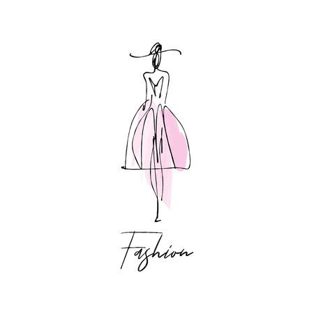 Mujer con sombrero. Boceto dibujado a mano de modelo de moda, tinta estilizada y silueta acuarela aislada sobre fondo blanco. Ilustración vectorial Ilustración de vector
