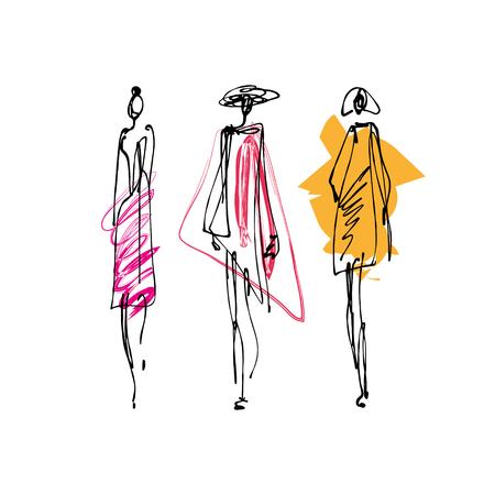Mode-Modelle handgezeichnete Skizze, stilisierte Tintensilhouetten isoliert auf weißem Hintergrund. Vektorillustrationen Vektorgrafik