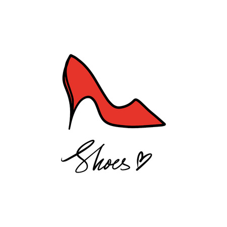 Hand drawn beautiful red leather woman shoe with high heel. Fashion illustration isolated on white background, girl sketch, shopping label or shoestore logotype. Handwritten style text Logo