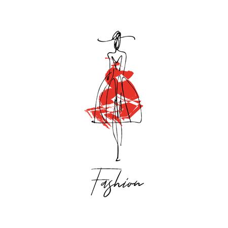 Frau mit Hut. Gezeichnete Skizze des Mode-Modells, stilisierte Tintenschattenbild lokalisiert auf weißem Hintergrund. Vektor-Illustration