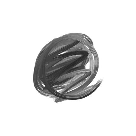 Gray brush round stroke isolated on white background. Grunge circle stain. Vector illustration, EPS 일러스트