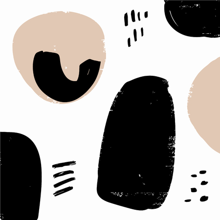 Abstract hand drawn brush stroke simple shapes pattern texture. Scandinavian stylish poster or for clothes, cards, wrapping paper and other. Vector illustration, EPS