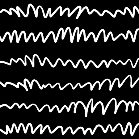 Simple hand drawn black and white pattern with stripes. Monochrome print for clothes, textile, wrapping paper and other. Vector illustration, EPS