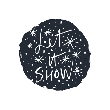 Snowflakes and text hand drawn vector set, brush smears. Winter theme. Simple brush sketch illustration, cozy holiday print