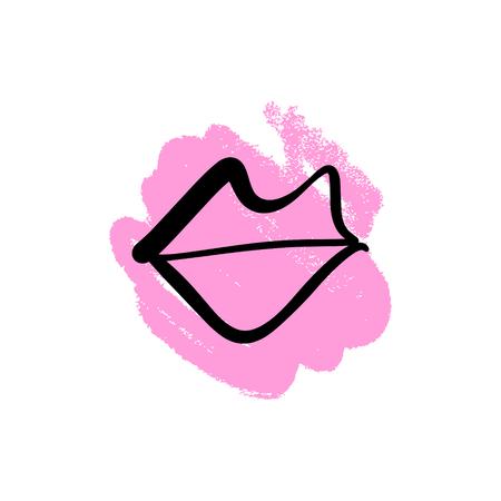 Symbole de lèvres dessinés à la main de vecteur. Image, étiquette, impression de vêtements et autres, élément de design et autres Vecteurs