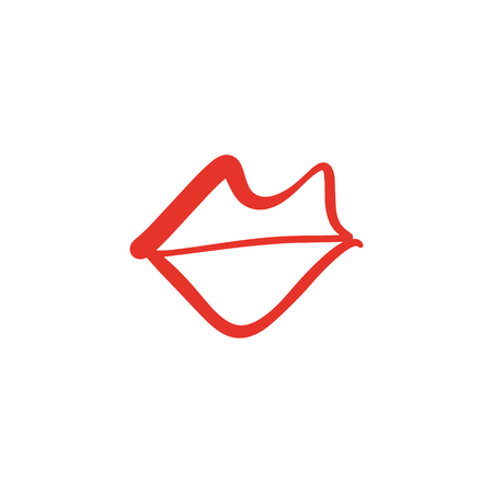 Vector hand drawn lips symbol. Picture, label, print for clothes and other, element for design and other