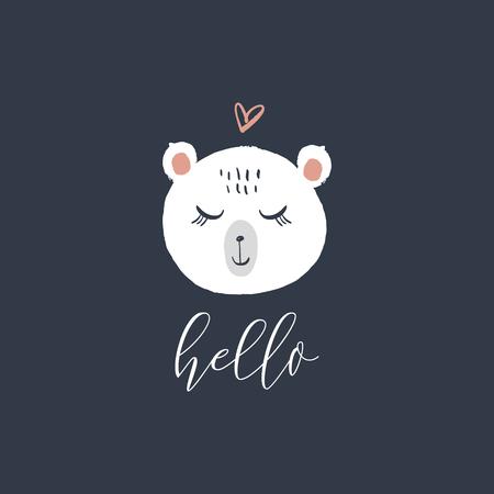 Vector polar bear face with phrase hello. Cute hand drawn illustration. Good for nursery room, childrens prints.