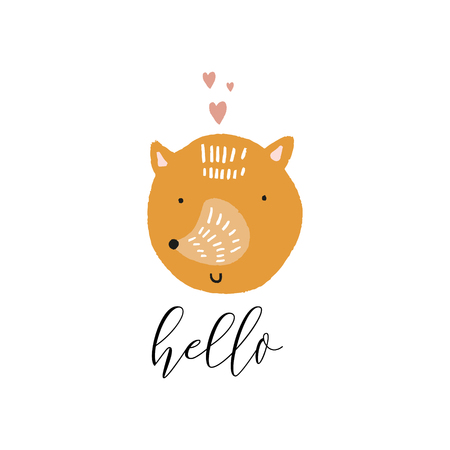 Vector fox face with phrase hello. Cute hand drawn illustration. Good for nursery room, childrens prints. Stock Illustratie