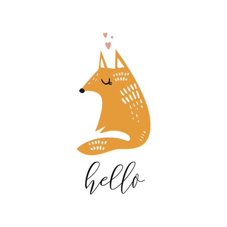 Vector fox face with phrase hello. Cute hand drawn illustration. Good for nursery room, childrens prints. Banque d'images - 115942205