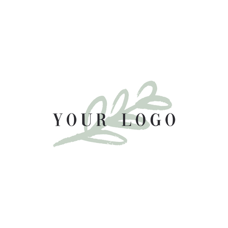 Vector trendy hand drawn beauty logo for organic cosmetics, florist, blogger and more. Elegant plant label, floral pastel element. Blog minimalistic apparel.