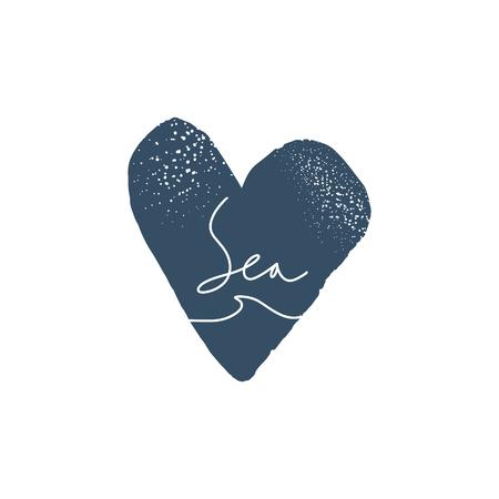 Illustration vectorielle. Logo de lettrage dessiné main hipster vintage de surf et de mer avec symbole de vague.