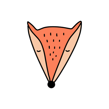 Vector cute little fox face art. Poster and banner element, childrens book illustration, postcard, gift card, print for t-shirt and more, sticker, label and other. Isolated on white background. Stock Illustratie