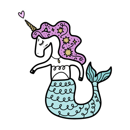 Funny patterned mermaid unicorn, vector illustration.. Poster and banner element, children's storybook illustration, postcard, gift card, print for t-shirt and more, sticker, label and other. Isolated on white background.  イラスト・ベクター素材