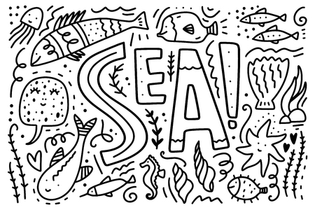 Vector sea life collection. Set of different marine characters. Childrens coloring book illustration.