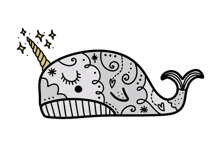 Vector patterned narwhal art. Poster and banner element, childrens book illustration, postcard, gift card, print for t-shirt and more, sticker, label and other. Isolated on white background.