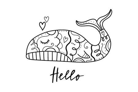 Vector hand drawn cute whale in love. Poster and banner element, childrens coloring book illustration, print for t-shirt and more, sticker, label and other. Isolated on white background.