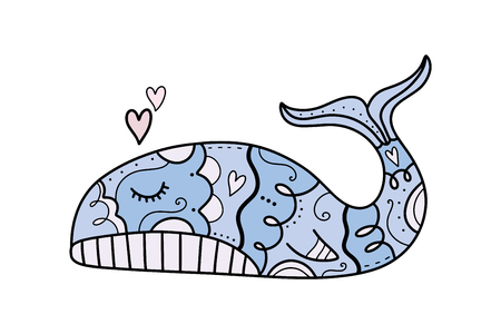 Vector hand drawn cute whale in love. Poster and banner element, childrens book illustration, postcard, gift card, print for t-shirt and more, sticker, label and other. Isolated on white background. Stock Illustratie