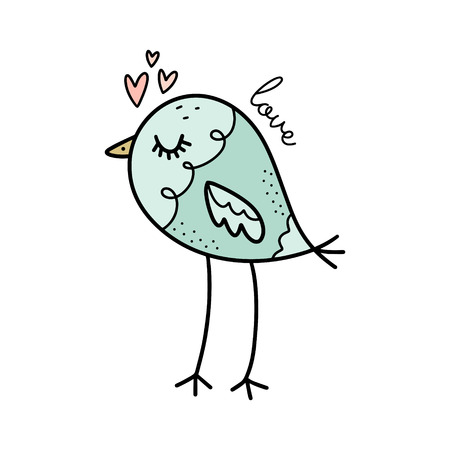 Vector cute patterned bird in love. Poster and banner element, childrens book illustration, Valentine postcard, gift card, print for t-shirt and more, sticker, label and other. Isolated on white background. Stock Illustratie