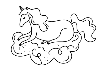 Vector sleeping unicorn on cloud. Poster and banner element, childrens coloring book illustration, postcard, gift card, print for t-shirt and more, sticker, label and other. Isolated on white background.