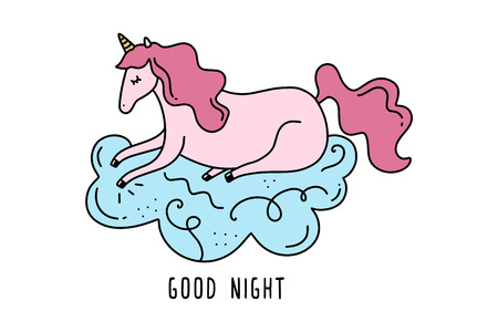 Vector sleeping unicorn on cloud. Poster and banner element, childrens book illustration, postcard, gift card, print for t-shirt and more, sticker, label and other. Isolated on white background.