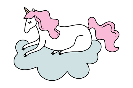 Vector lying unicorn on cloud. Poster and banner element, children's book illustration, postcard, gift card, print for t-shirt and more, sticker, label and other. Isolated on white background. Illustration