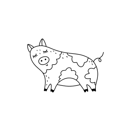 Vector hand drawn funny cute pig girl art. Poster and banner element, children's illustration for coloring book, print, sticker, label and other. Isolated on white background. Illusztráció
