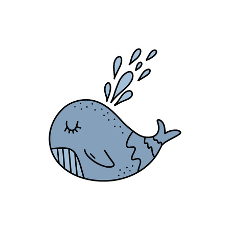 Vector cute little whale art. Poster and banner element, childrens book illustration, postcard, gift card, print for t-shirt and more, sticker, label and other. Isolated on white background.