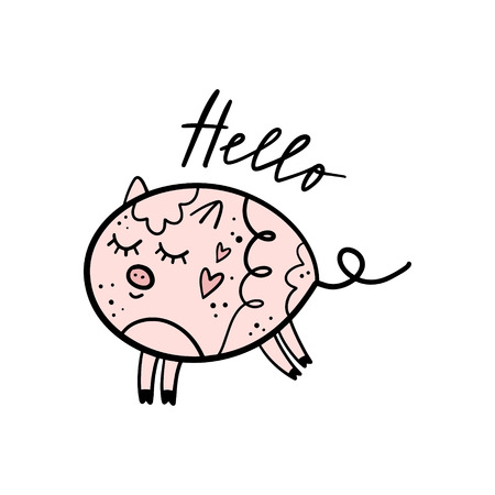 Vector cute pig girl saying Hello. Poster and banner element, children's book illustration, postcard, gift card, print, sticker, label and other. Isolated on white background. 向量圖像