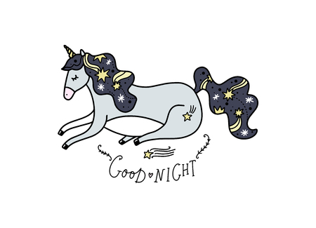 Vector lying unicorn and text Good night. Poster and banner element, childrens book illustration, postcard, gift card, print for t-shirt and more, sticker, label and other. Isolated on white background.