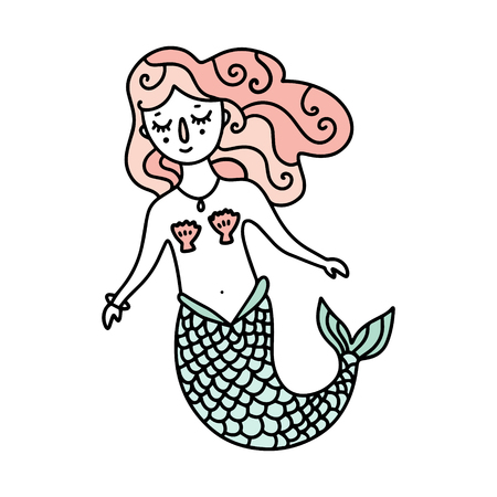 Beautiful little cute mermaid with pink hair, vector illustration. Poster and banner element, children's storybook illustration, postcard, gift card, print for t-shirt and more, sticker, label and other. Isolated on white background.