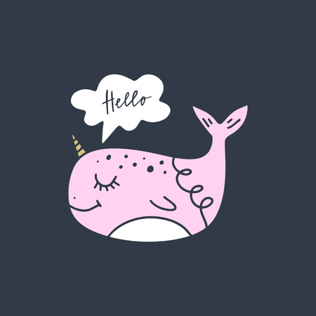 Vector cute narwhal art. Poster and banner element, childrens book illustration, postcard, gift card, print for t-shirt and more, sticker, label and other. Isolated on white background.