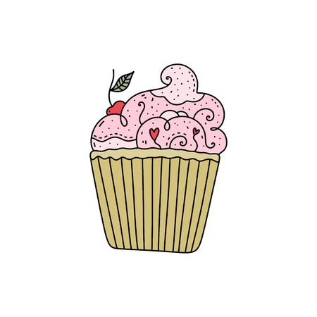 Cartoon vector hand drawn cupcake with doodle ornament. Illustration