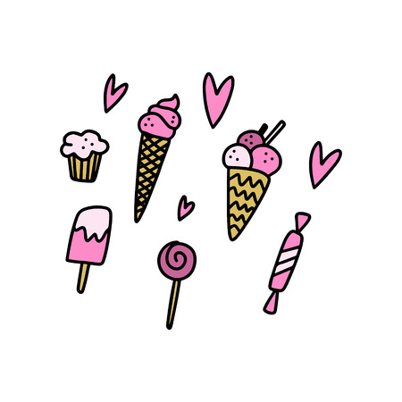 Vector pop art doodle candy elements set. Poster and banner element, childrens illustration, postcard, prints, stickers, labels and other. Good for pins. Isolated on white background.