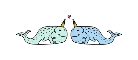 Vector cute narwhals couple in love. Poster and banner element, children's book illustration, postcard, gift card, print for t-shirt and more, sticker, label and other. Isolated on white background. Illustration