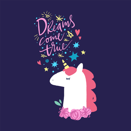 Vector and jpg image, clipart, editable isolated details. Dreams come true text. Unicorn head cute art, baby stylish illustration, unique print for posters, cards, mugs, clothes and other.