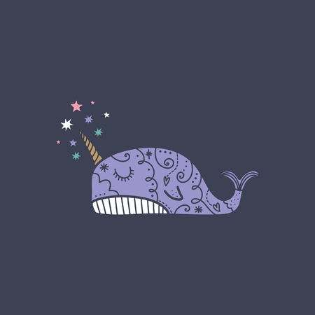 Vector cute narwhal line art. Poster and banner element, children's book illustration, postcard, gift card, print for t-shirt and more, sticker, label and other. Stockfoto - 125888662
