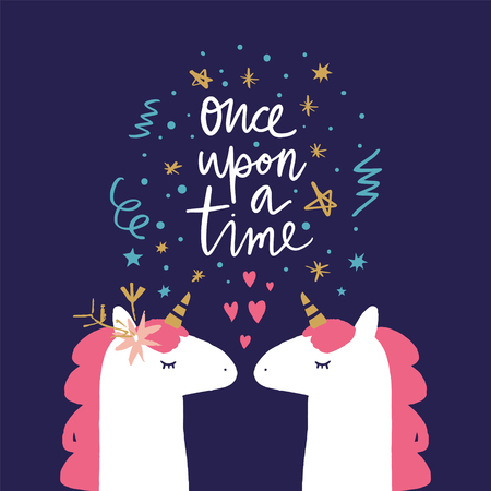 Vector and jpg image, clipart, Once upon a time text. Unicorn head cute art, baby stylish illustration, unique print for posters, cards, mugs, clothes and other.