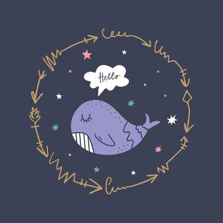 Vector and jpg image, clipart, editable isolated details. Little whale and frame, baby illustration, unique print for posters, cards, mugs, clothes and other.